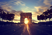 Sunset view of Arc de Triomphe, Paris, France