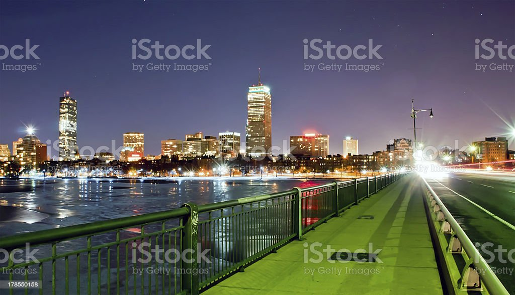 sunset view of Boston across the Charles River from Cambridge royalty-free stock photo