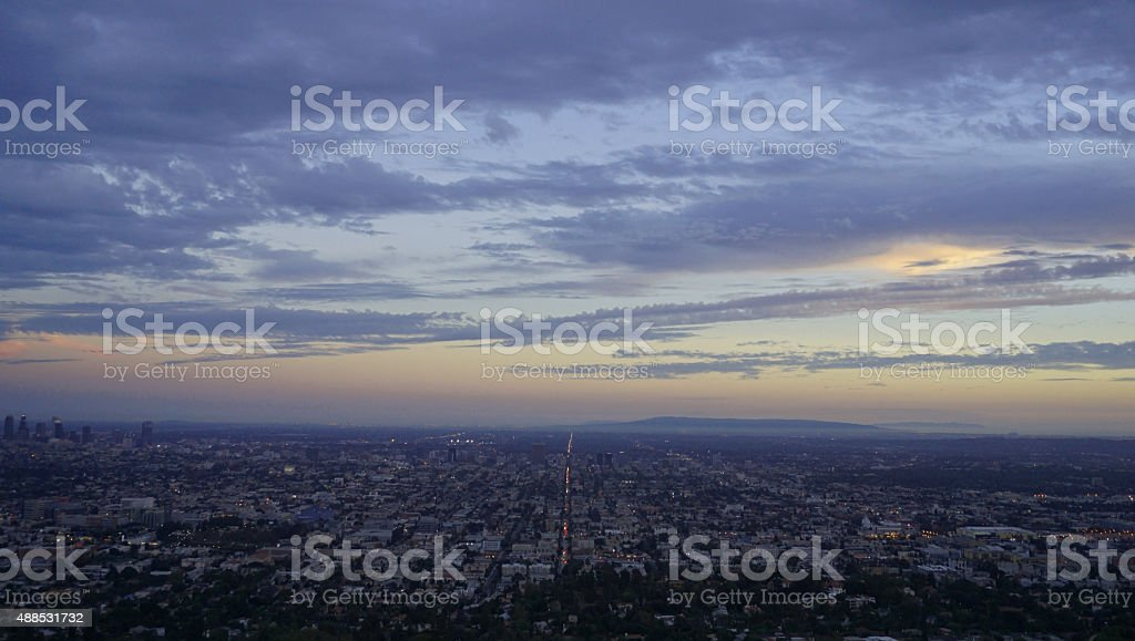 Sunset view of City of Los Angeles, California stock photo