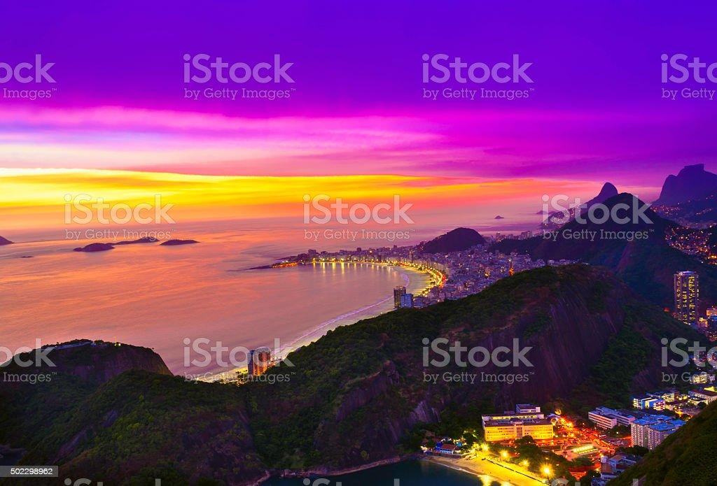 Sunset view of Copacabana beach in Rio de Janeiro stock photo