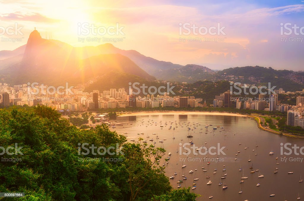 Sunset view of Corcovado and Botafogo in Rio de Janeir stock photo