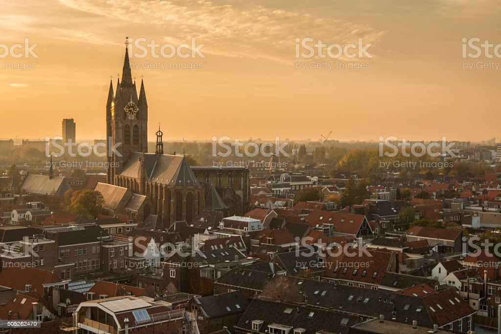 Sunset view of Delft stock photo