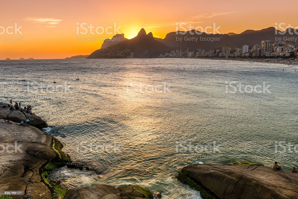 Sunset view of Ipanema in Rio de Janeiro stock photo