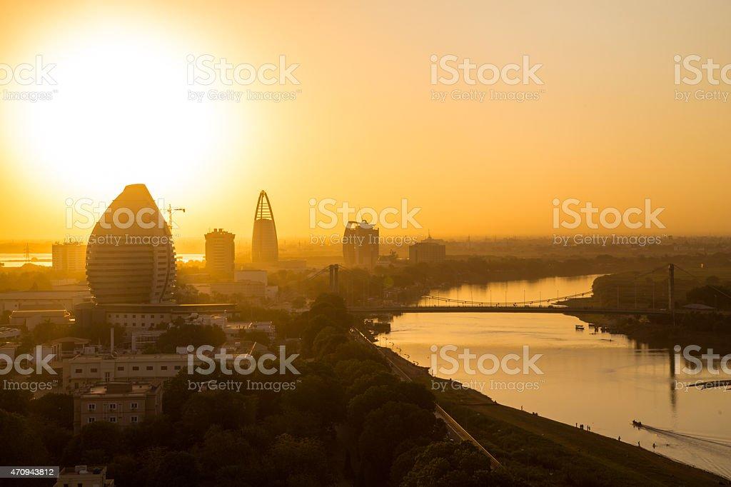 Sunset view of Khartoum, Sudan stock photo