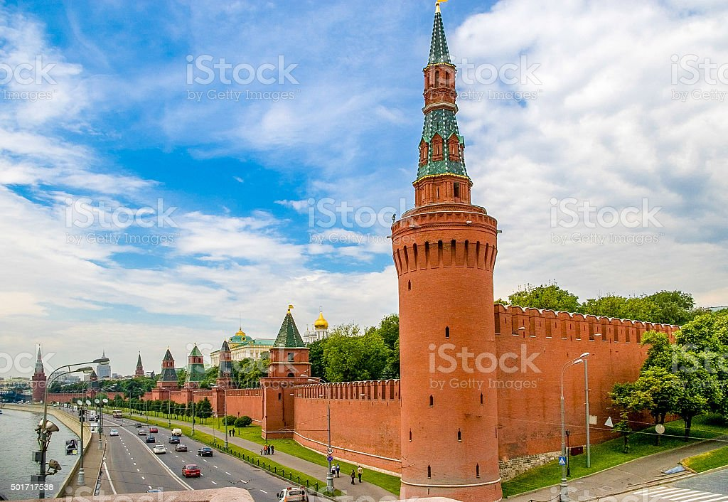 Sunset view of Kremlin in Moscow, Russia stock photo
