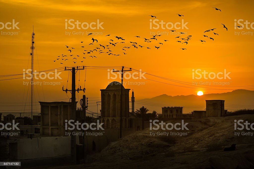 Sunset view of LAFT Village in south of Iran stock photo