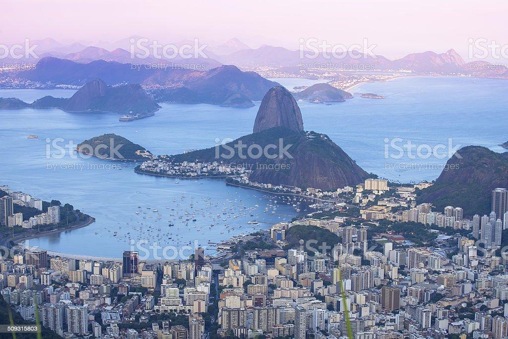 Sunset view of mountain Sugar Loaf in Rio de Janeiro stock photo