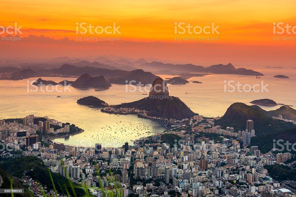 Sunset view of mountain Sugar Loaf, Rio de Janeiro stock photo