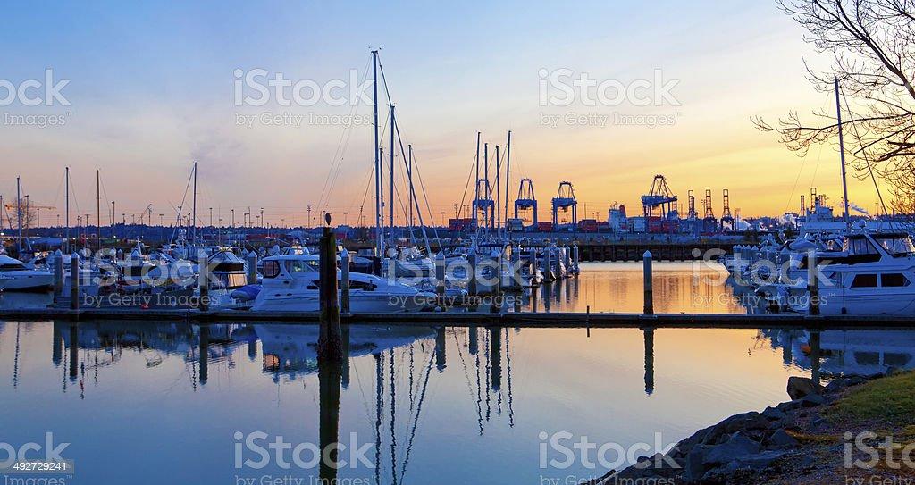 Sunset  view of port  and marina. Tacoma, WA stock photo