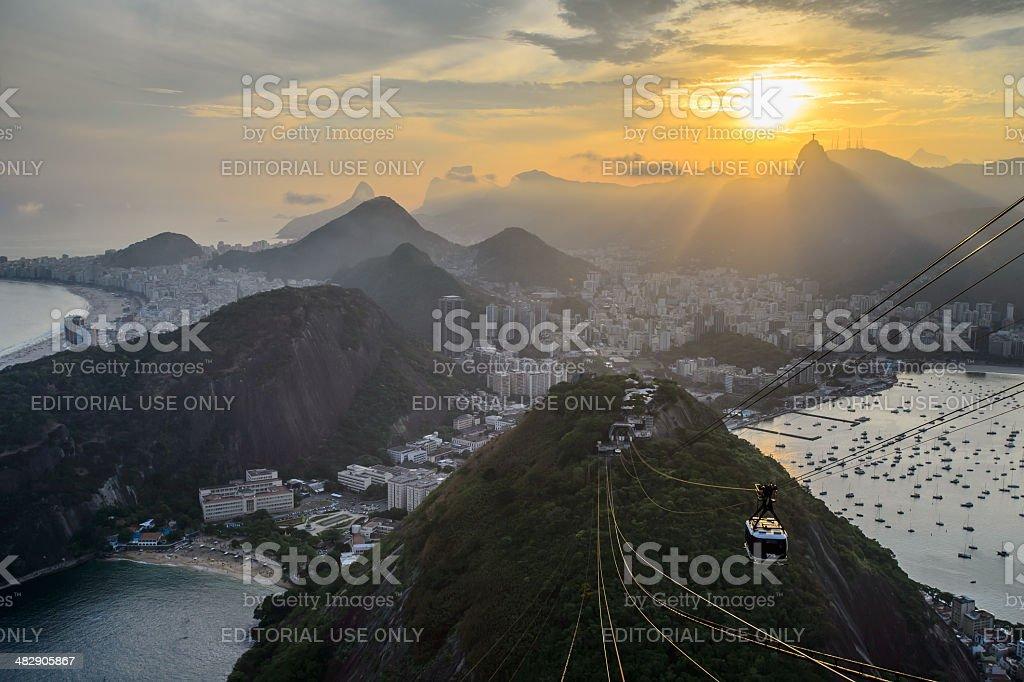 Sunset view of Rio de Janairo, Brazil royalty-free stock photo