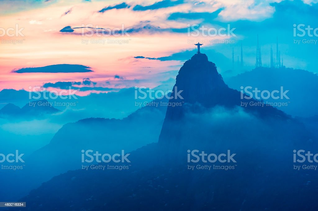 Sunset view of Rio de Janairo, Brazil stock photo