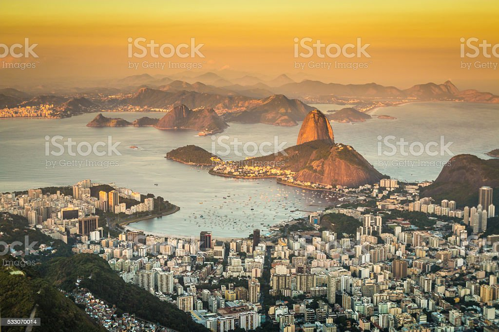 Sunset view of Rio de Janeiro Brazil stock photo
