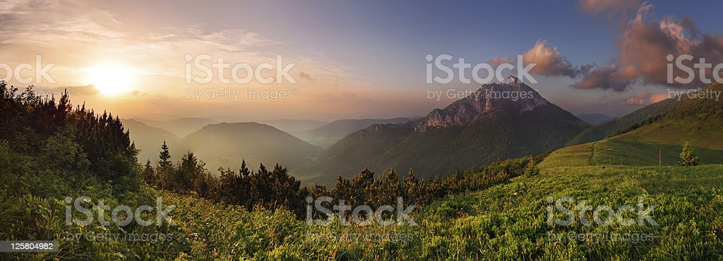 A sunset view of Rozsutec peak stock photo