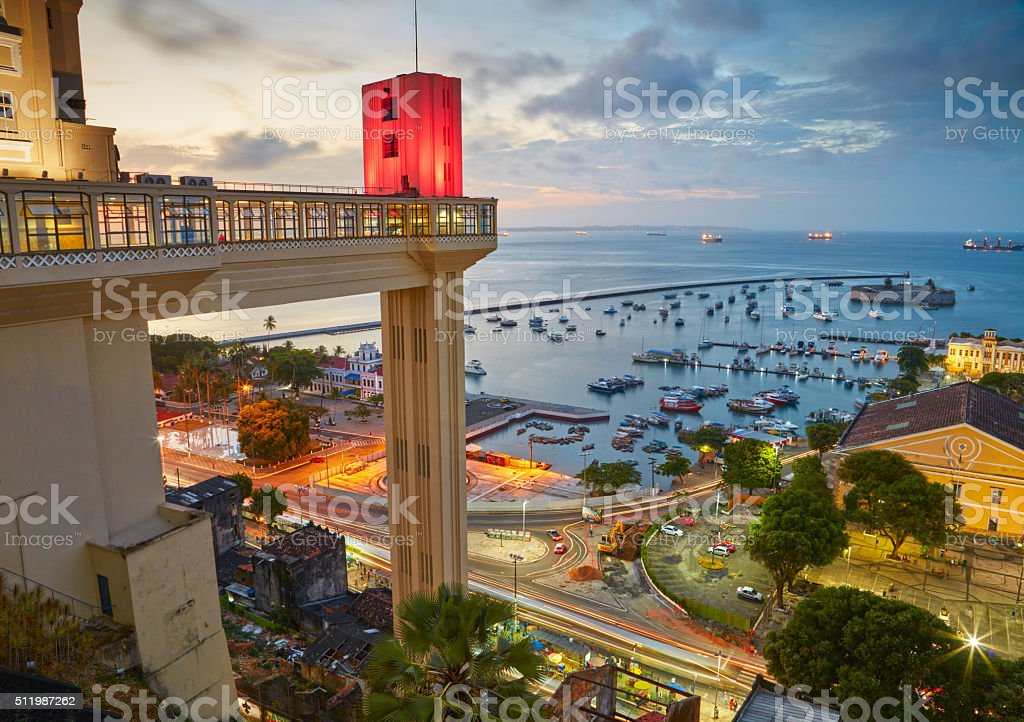 Sunset view of Salvador City in Bahia, Brazil stock photo