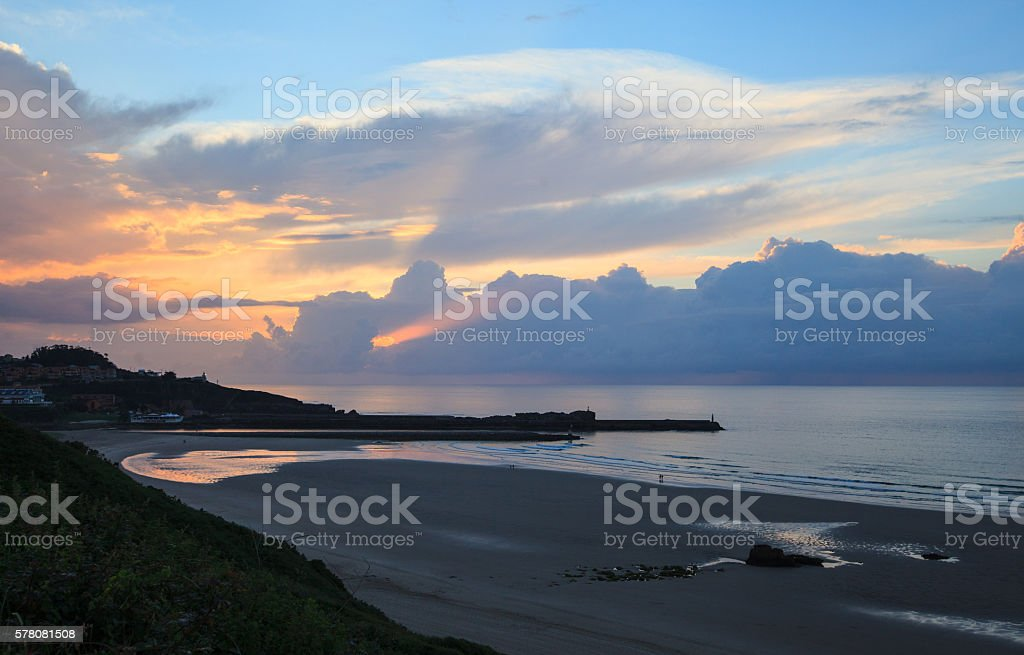 Sunset view of San Vicente  Barquera beach, Cantabria, Spain stock photo