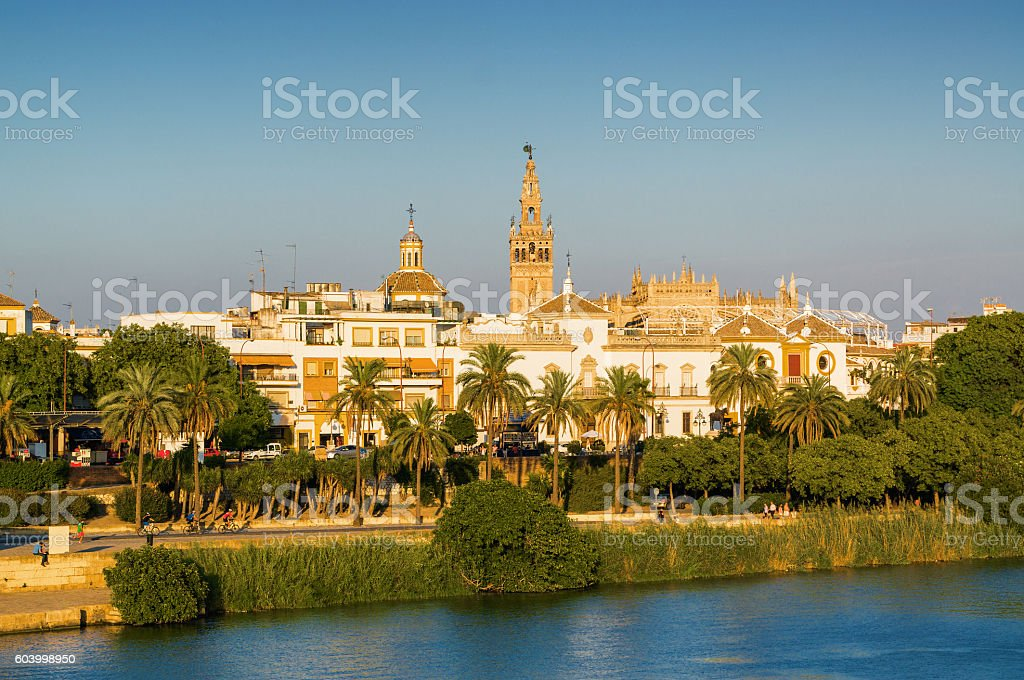 Sunset view of Sevilla, Andalusia province, Spain. stock photo