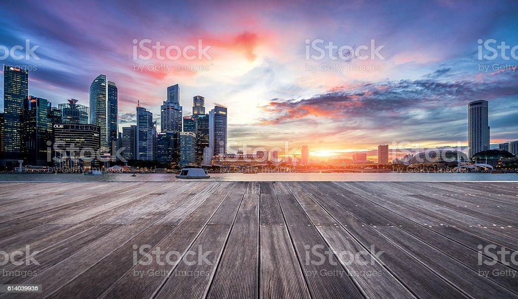 sunset view of Singapore skyline stock photo