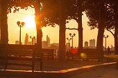 Sunset view of the City of London from Canary Wharf