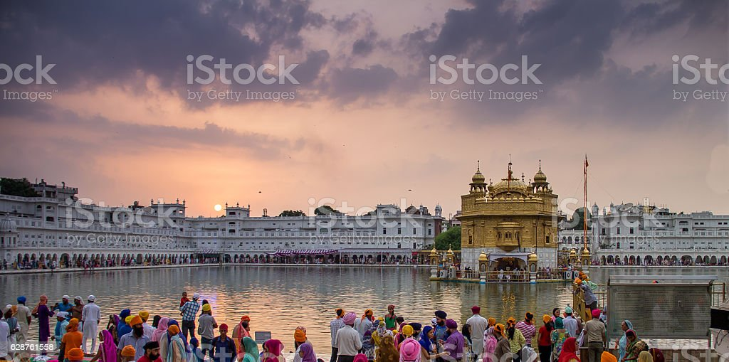 Sunset view of the Golden Temple, Amritsar, India stock photo