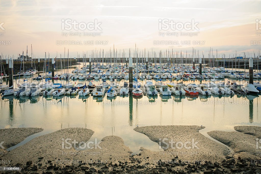 Sunset view of the marina, Le Havre stock photo