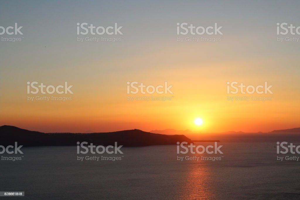 Sunset View of the Ocean and Islands stock photo