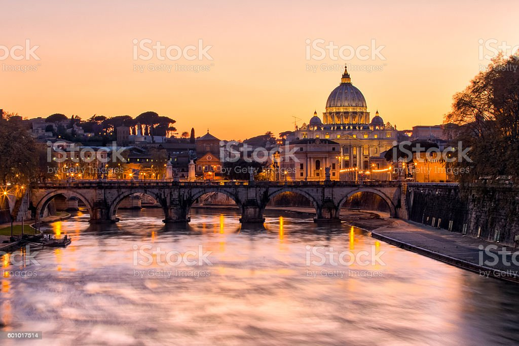 Sunset view of the Vatican city state stock photo