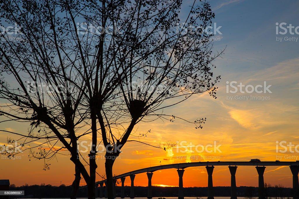 Sunset View of Thomas Johnson Bridge in Southern Maryland stock photo