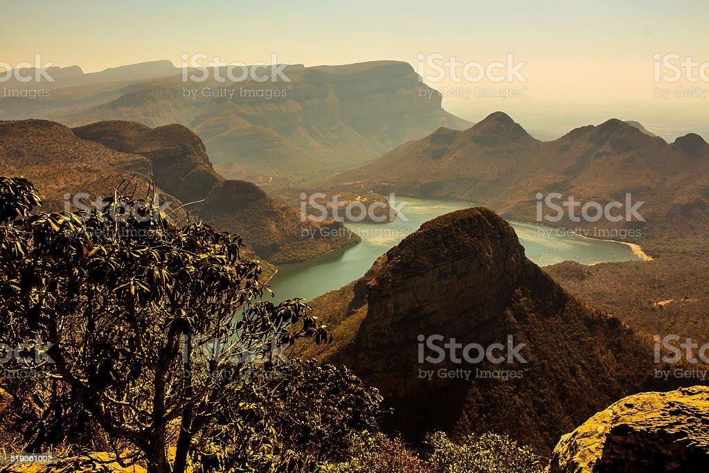 Sunset view of Three Rondavels, Blyde River Canyon, South Africa. stock photo