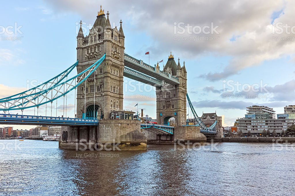 Sunset view of Tower Bridge in London, England, United Kingdom stock photo