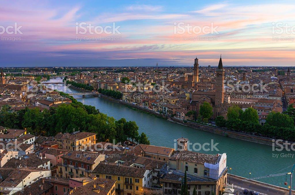 Sunset view of Verona. Italy stock photo