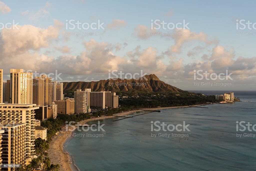 Sunset view of Waikiki Beach and Diamond Head, Hawaii stock photo