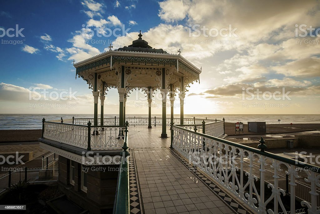 Sunset view on beautiful Brighton bandstand stock photo