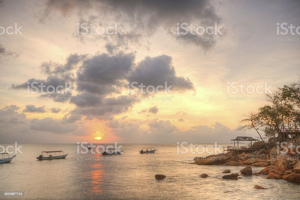 Sunset view on Perhentian Island stock photo