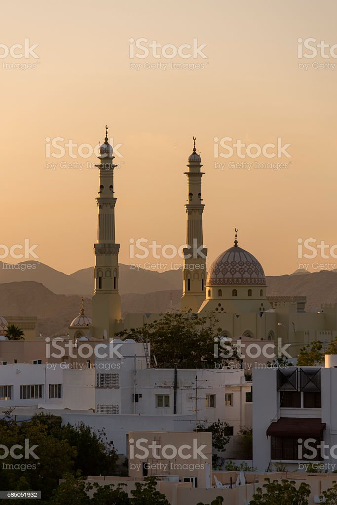 Sunset view over Muscat stock photo
