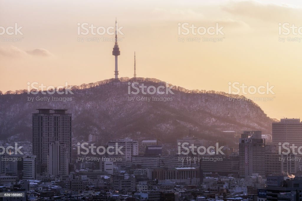 sunset view over namsan tower stock photo
