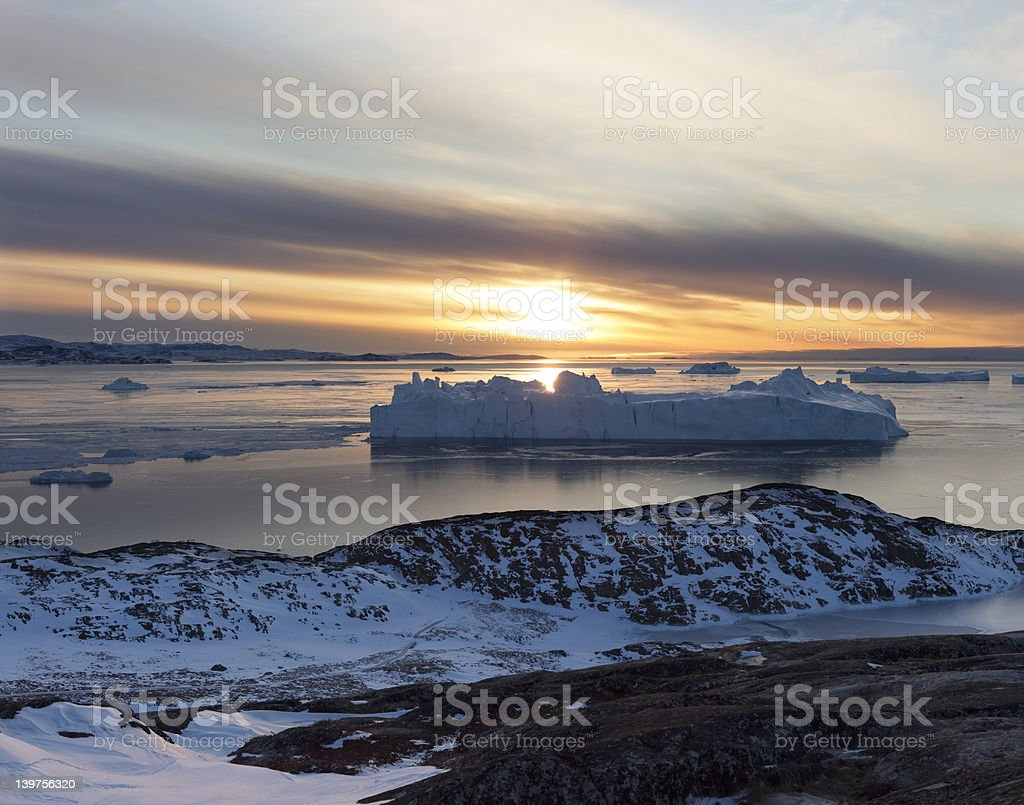 Sunset view over the icefjord in Ilulissat stock photo