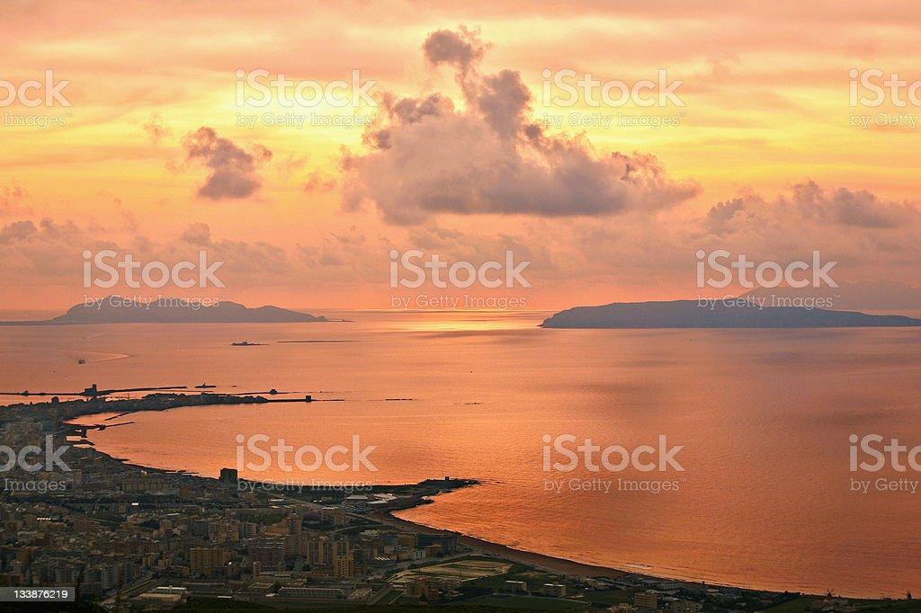 Sunset view. Trapani, Sicily. royalty-free stock photo