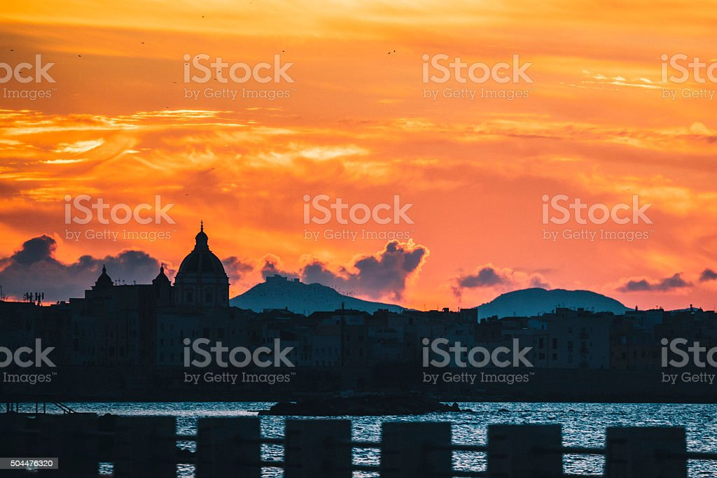 Sunset view. Trapani, Sicily. stock photo