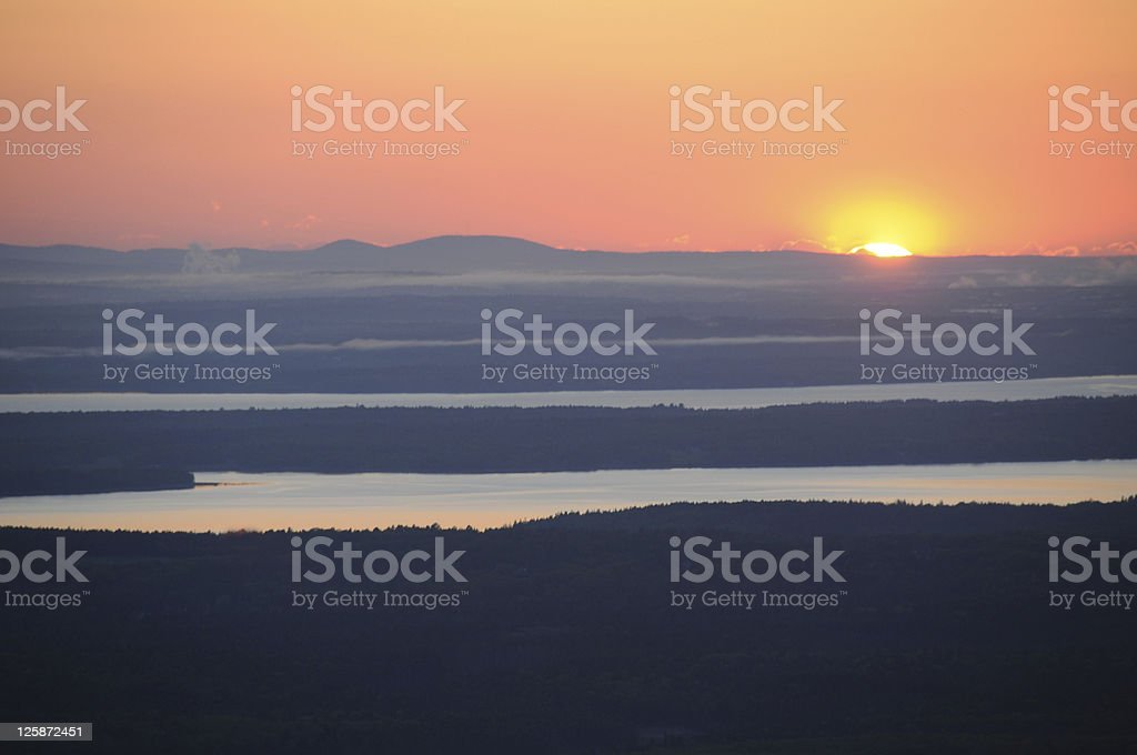 Sunset viewed from Mt Cadilac, Acadia National Park stock photo