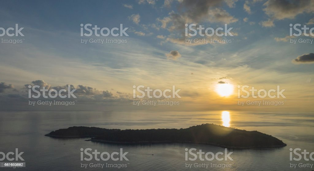 Sunset views from Gruz near Dubrovnik's Old Town in Croatia stock photo