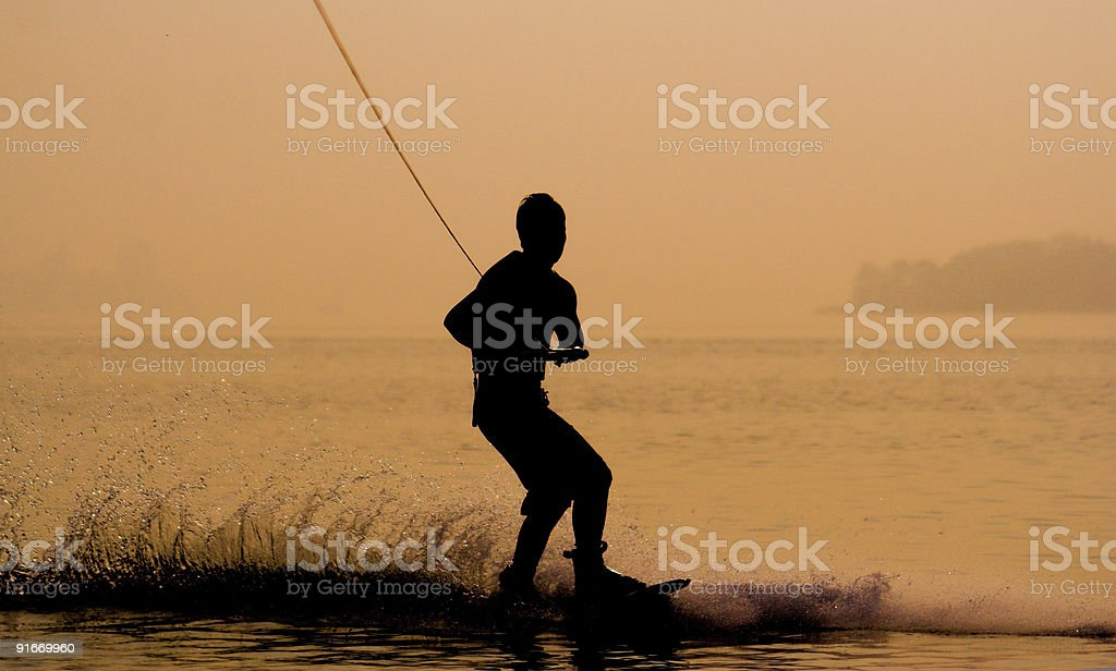 Sunset Wakeboarding stock photo