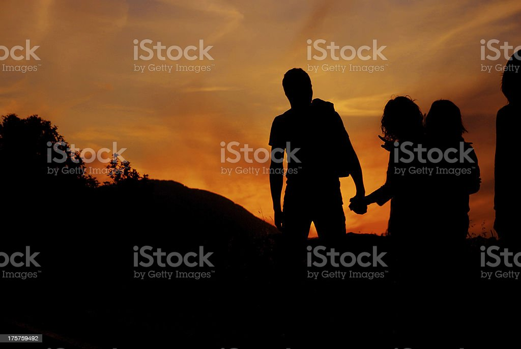 sunset walk on the street royalty-free stock photo