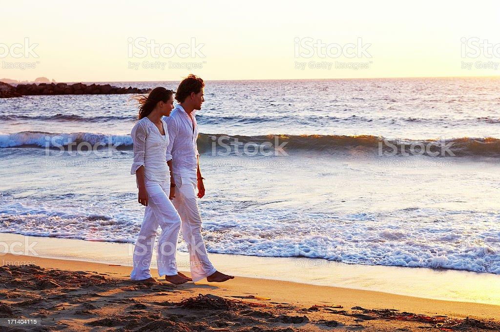 Sunset walk stock photo