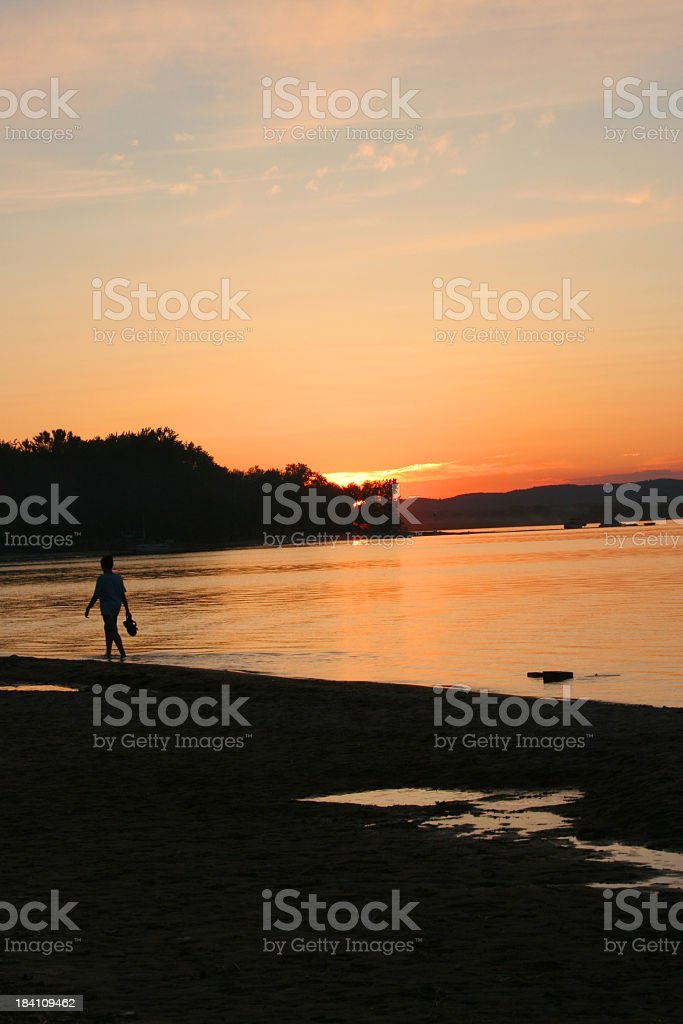 Sunset walk royalty-free stock photo