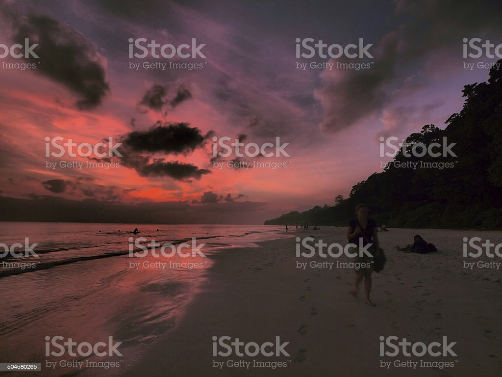 Sunset walking stock photo