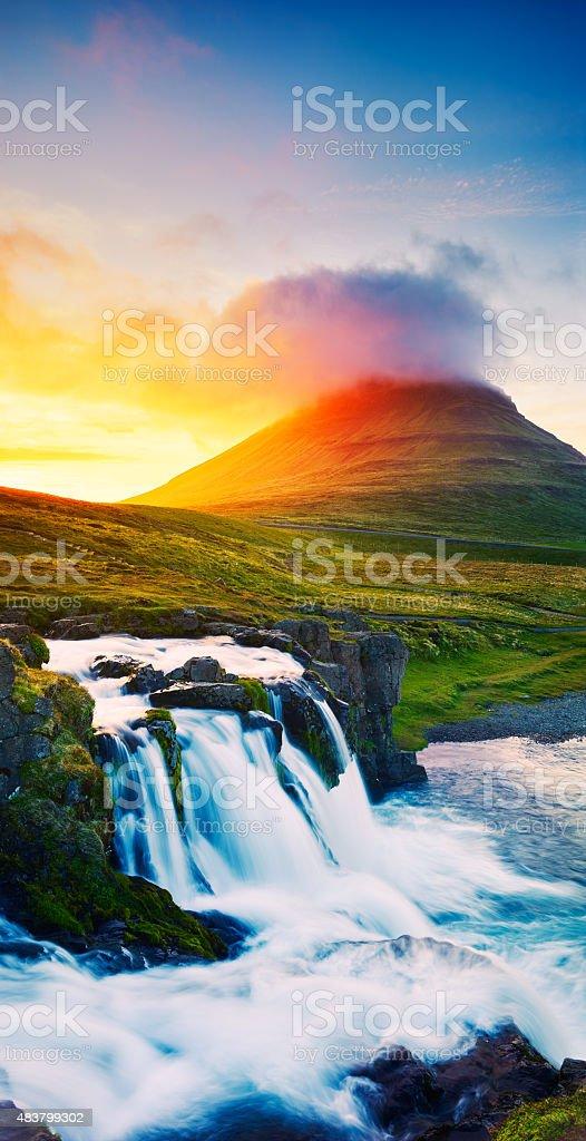 Sunset Waterfall stock photo