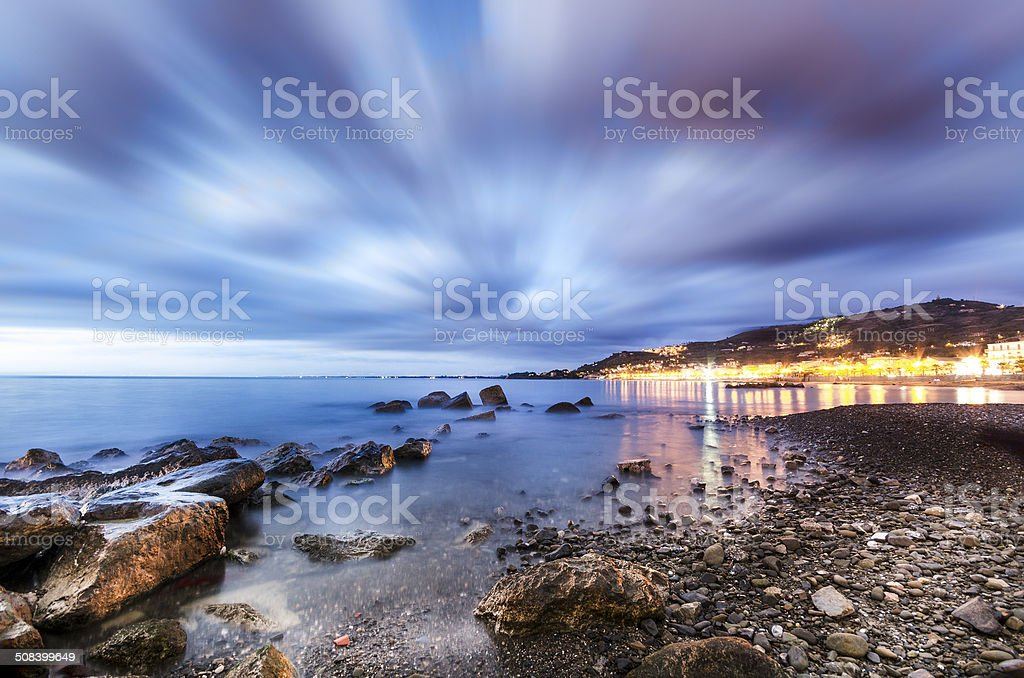 Tramonto - lungomare - Agropoli stock photo