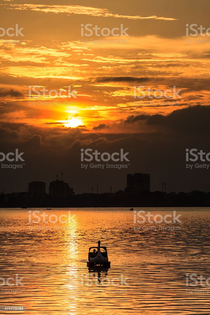 Sunset Westlake Hoang hon Ho Tay royalty-free stock photo