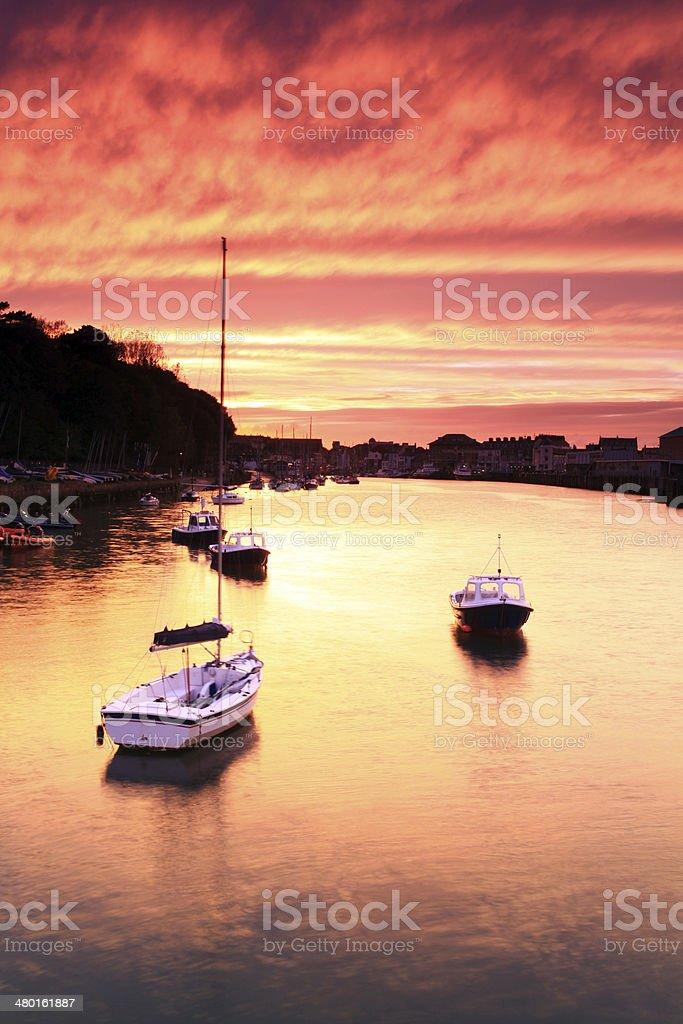 Sunset Weymouth Harbour England stock photo