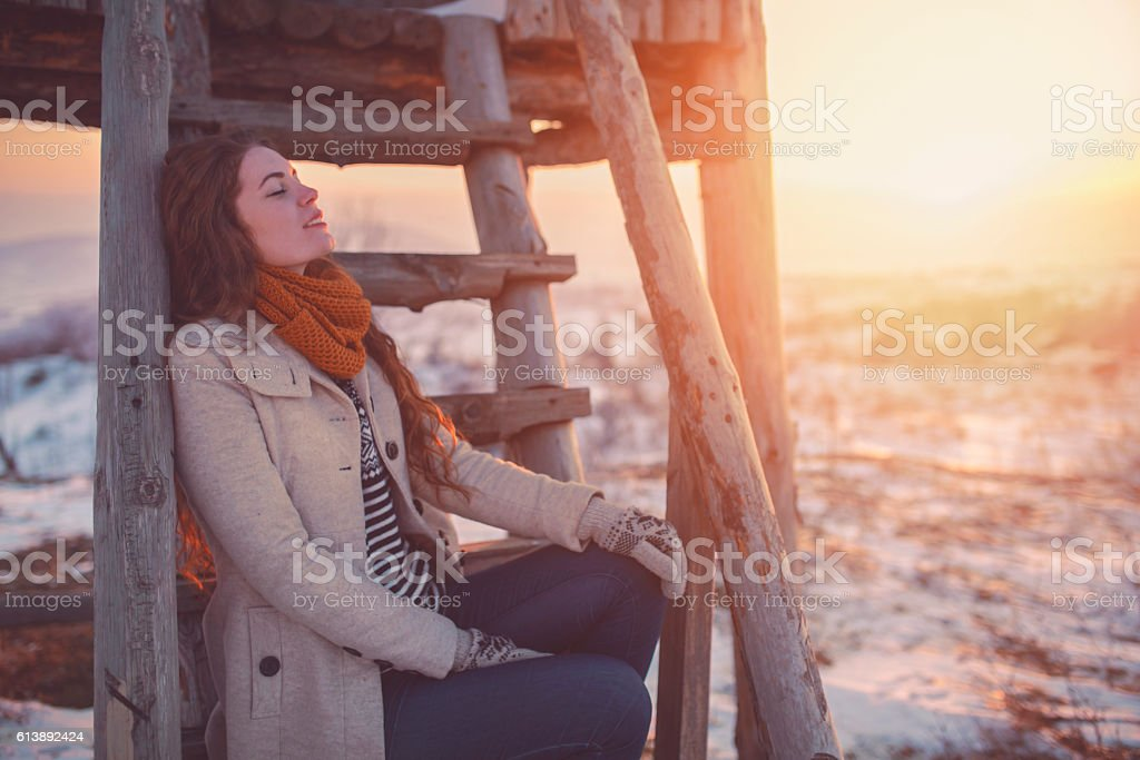 Sunset, whiteness and tranquility stock photo
